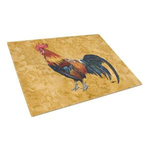 Rooster Tempered Glass Large Heat Resistant Cutting Board