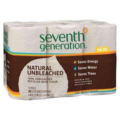 Unbleached 100% Recycled Bathroom Tissue 2-Ply (12 Rolls per Pack)