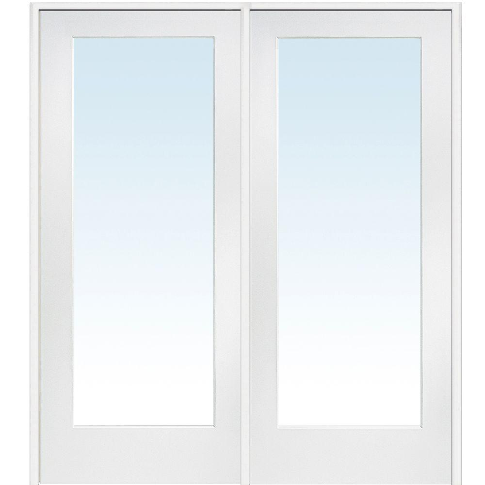 Mmi door 74 in x in classic clear glass 1 lite for Double pane french doors