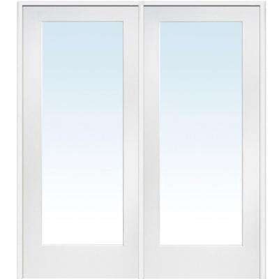 72 in. x 80 in. Left Hand Active Primed Composite Clear Glass Full Lite Prehung Interior French Door