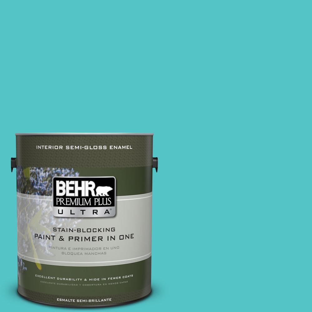 1-gal. #500B-4 Gem Turquoise Semi-Gloss Enamel Interior Paint