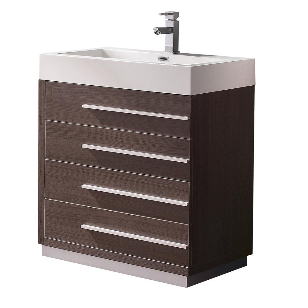 Livello 30 In. Bath Vanity In Gray Oak With Acrylic Vanity