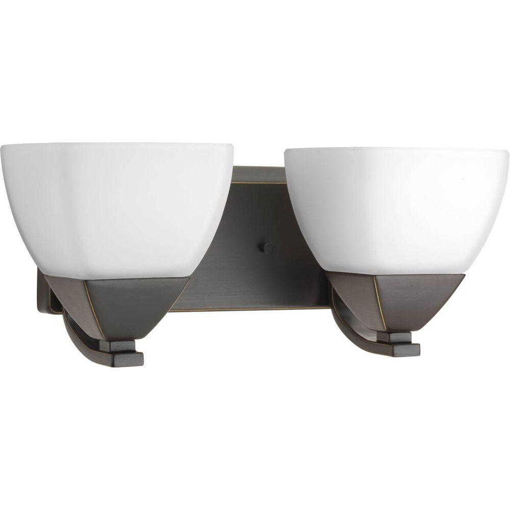 Appeal Collection 2-Light Antique Bronze Vanity Light with Etched White Glass