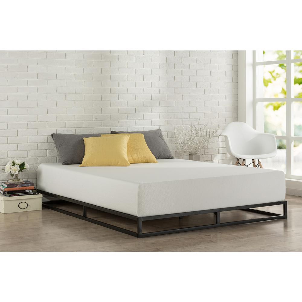zinus modern studio platforma queen metal bed frame hd mbbf 6q the home depot - Modern Metal Bed Frame