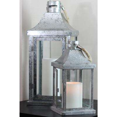 Industrial Flecked Metal and Glass Pillar Candle Lanterns (Set of 2)