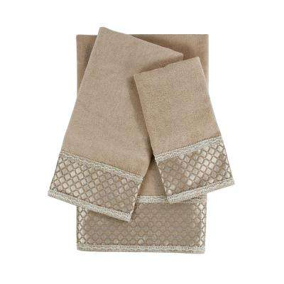 Manor Taupe Embellished Towel Set (3-Piece)
