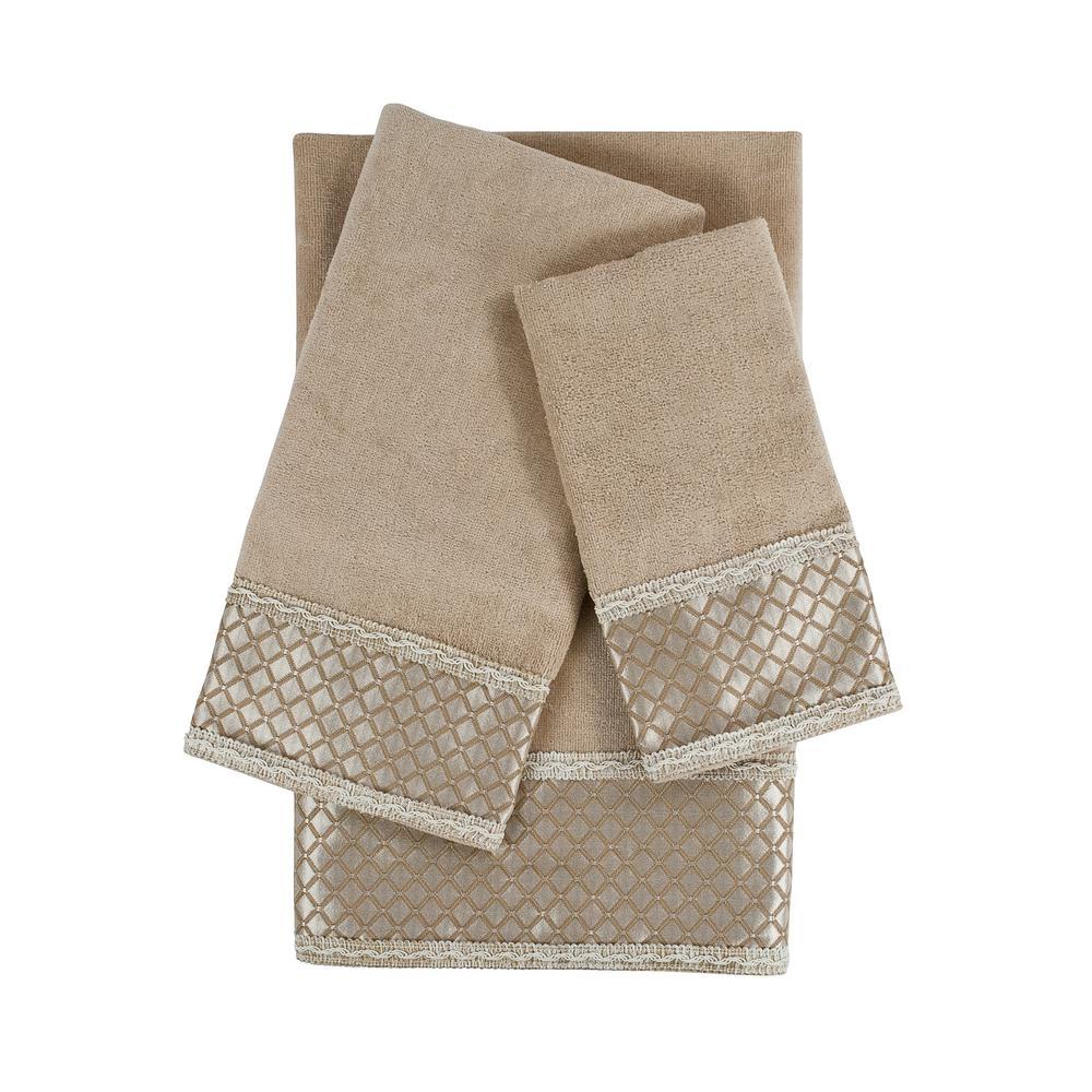 Sherry Kline Manor Taupe Embellished Towel Set (3-Piece)