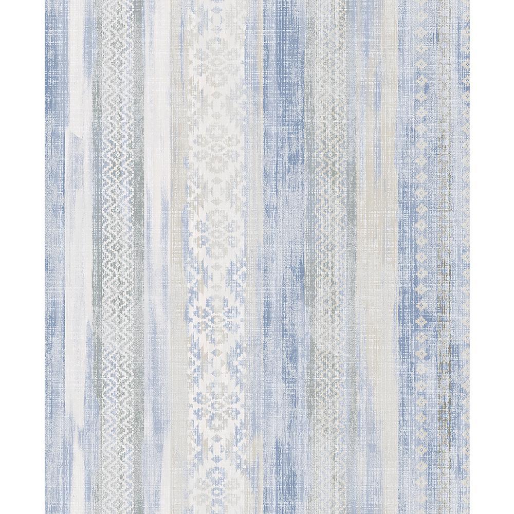 Advantage 8 in. x 10 in. Blair Blue Ikat Stripe Wallpaper