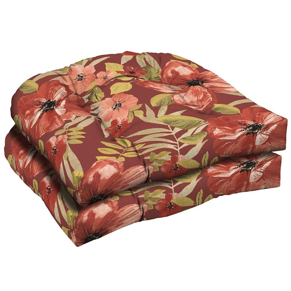 Hampton Bay Chili Tropical Blossom Tufted Outdoor Seat Pad (2-Pack)
