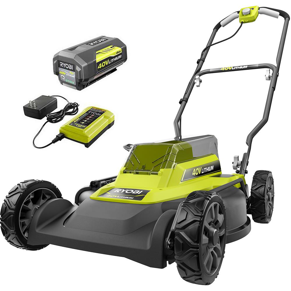 RYOBI 18 in. 40-Volt 2-in-1 Lithium-Ion Cordless Battery Walk Behind Push Mower 4.0 Ah Battery/Charger Included