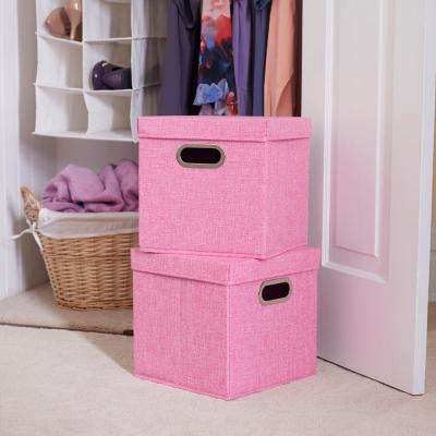 11 in. x 11 in. Heather Linen Bin Set 2 -Pack