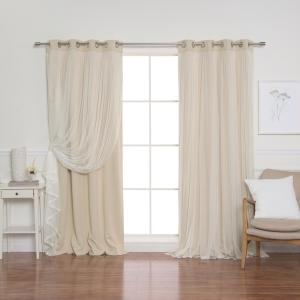 52 in. W x 108 in. L Marry Me Lace Overlay Blackout Curtain Panel in Beige (2-Pack)