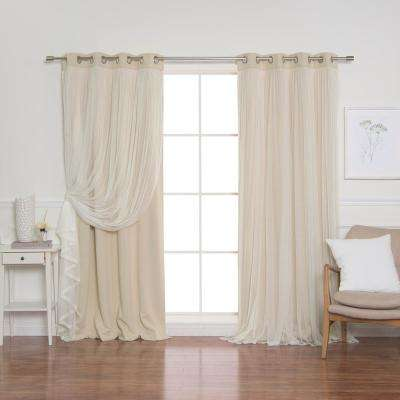 84 in. L Beige Marry Me Lace Overlay Blackout Curtain Panel (2-Pack)