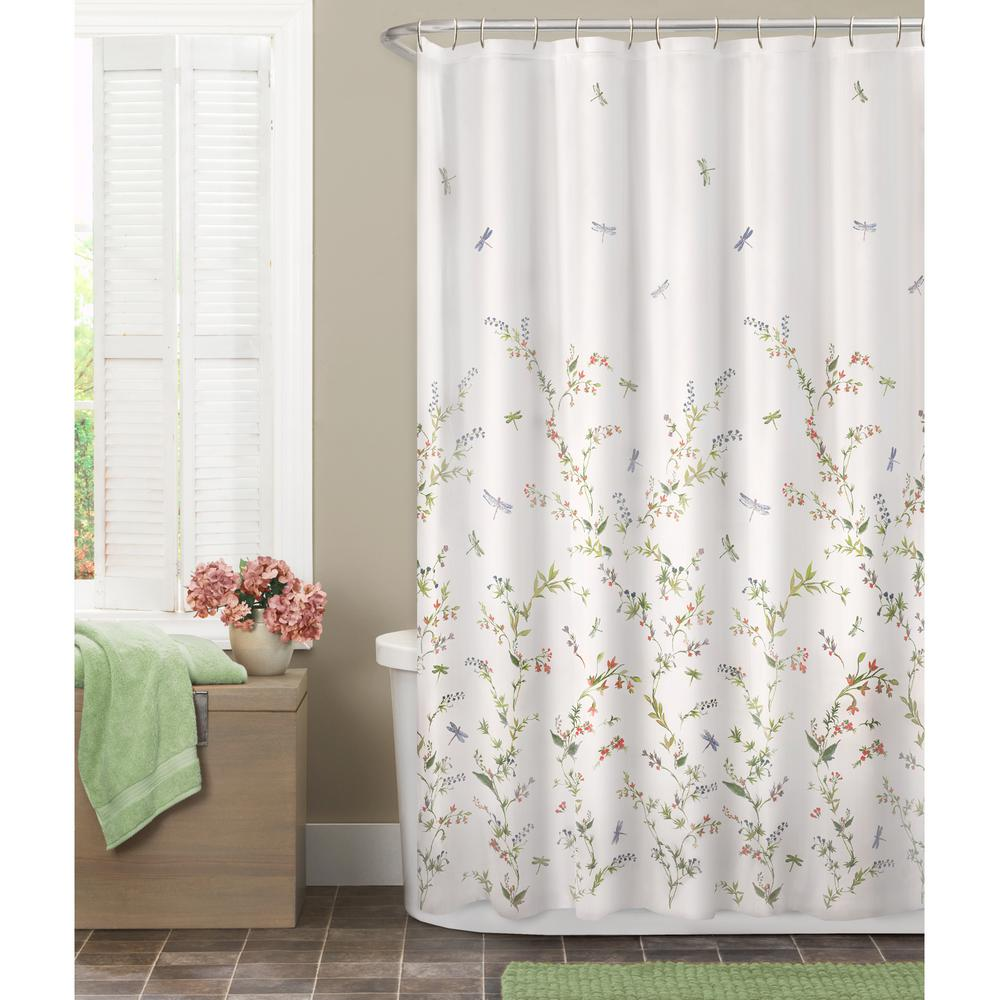 Multi Colored Dragonfly Garden Semi Sheer Fabric Shower Curtain 7065501yMULTI