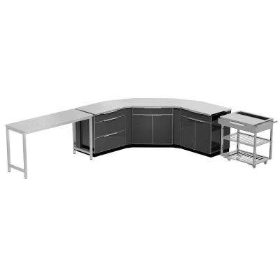 Aluminum Slate 10-Piece 150x36x86 in. Outdoor Kitchen Cabinet Set with Covers
