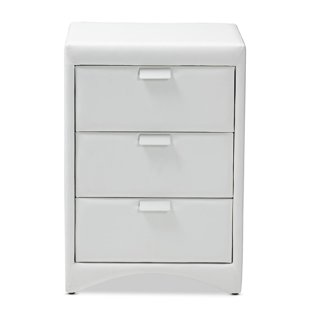 Talia 3-Drawer White Nightstand