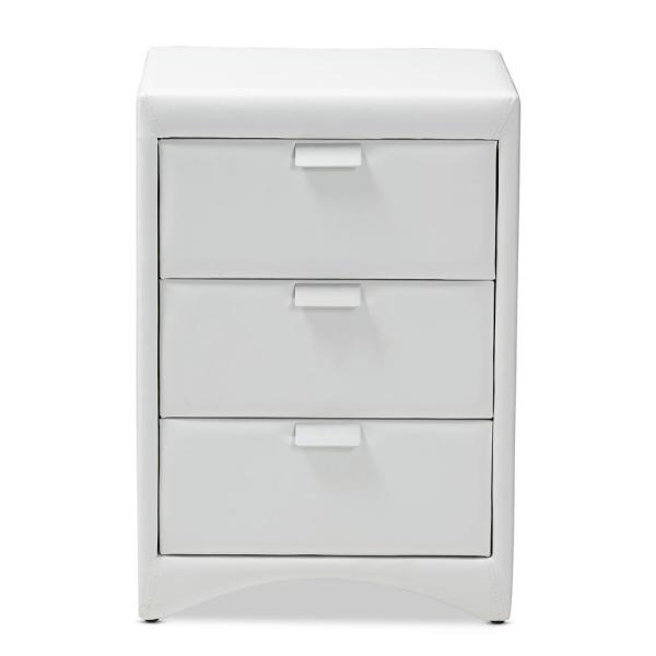 Baxton Studio Talia 3-Drawer White Nightstand 147-8164-HD