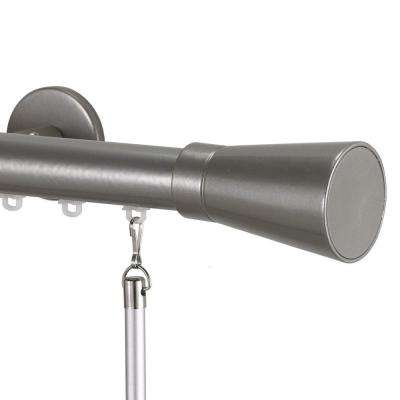 Tekno 25 Decorative 84 in. Traverse Rod in Antique Silver with Linea Finial
