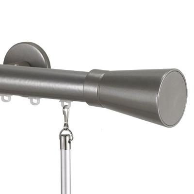 Tekno 25 Decorative 120 in. Traverse Rod in Antique Silver with Linea Finial
