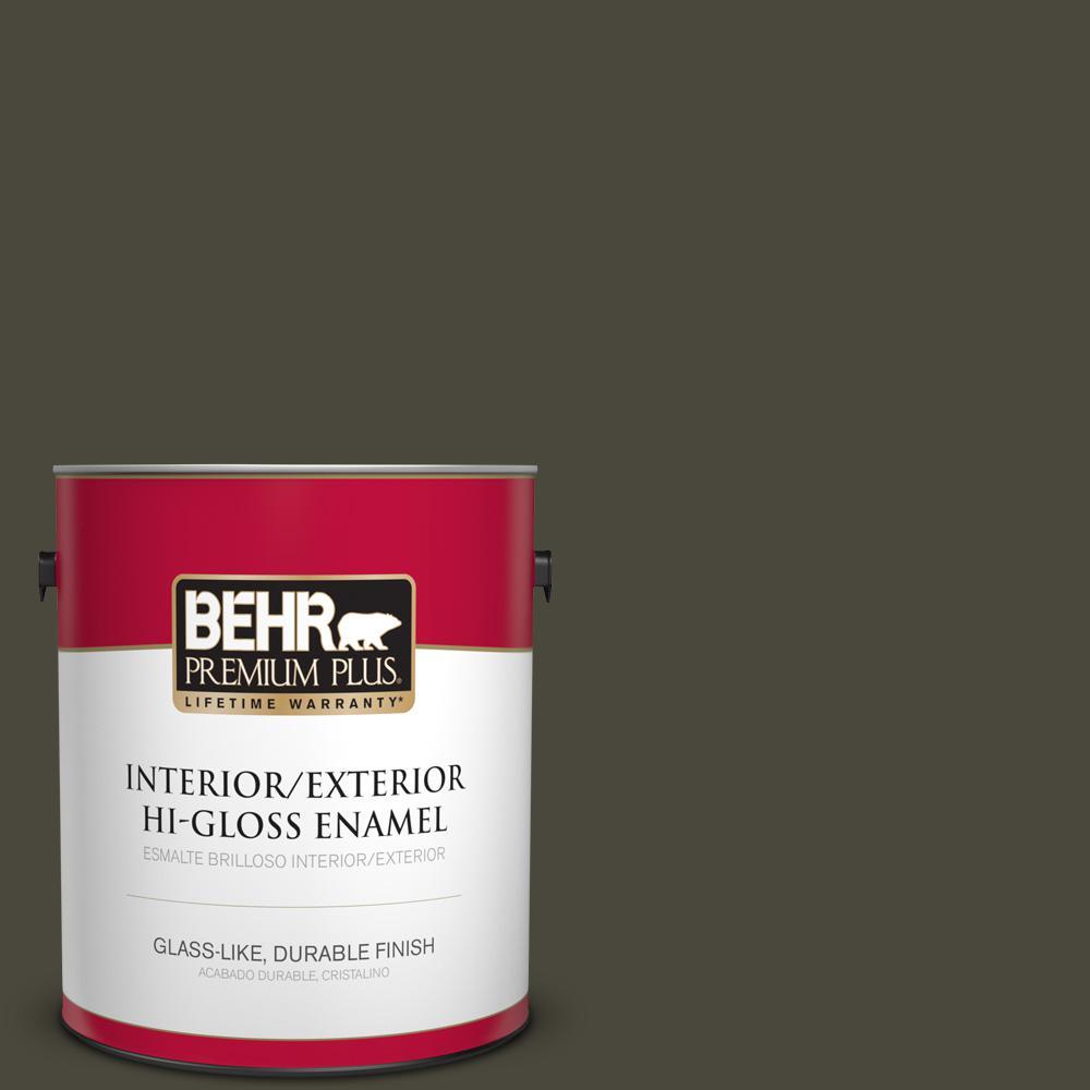 1 gal. #PPU24-01 Black Mocha Hi-Gloss Enamel Interior/Exterior Paint