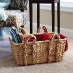 Household Essentials 9.84 in x 20.9 in Rectangular Basket with Braid Handles