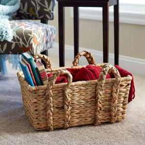 9.84 in x 20.9 in Rectangular Basket with Braid Handles