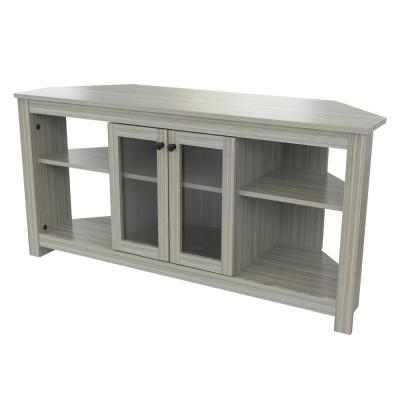 Inval America 50 in. Washed Oak Wood Corner TV Stand Fits TVs Up to 60 in. with Adjustable Shelves