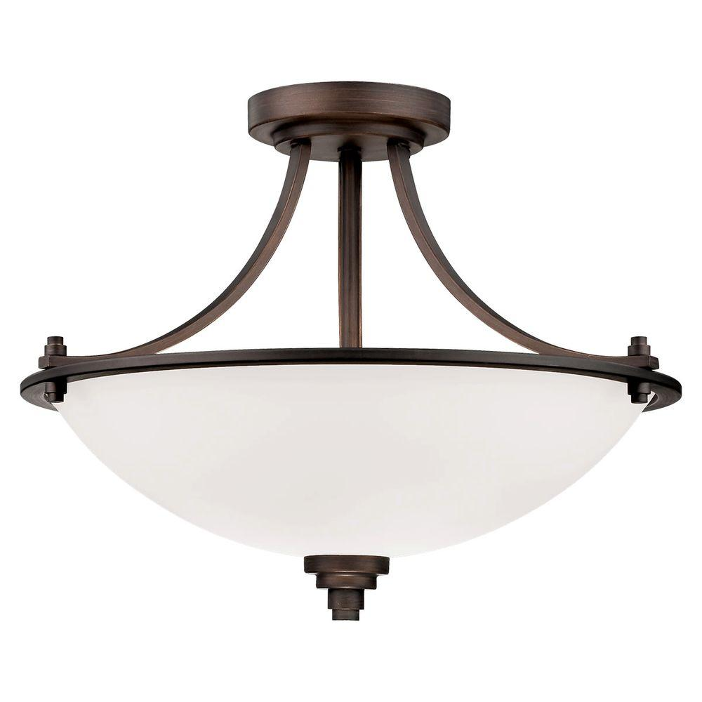 Millennium Lighting 3 Light Rubbed Bronze Semi Flush Mount With Etched White Glass