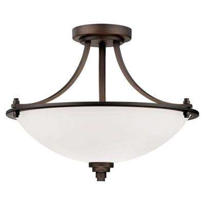 3-Light Rubbed Bronze Semi Flush Mount with Etched White Glass