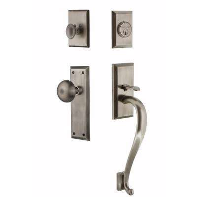 New York Plate 2-3/8 in. Backset Antique Pewter S Grip Keyed Entry Handleset with New York Knob