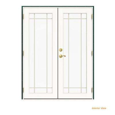 60 in. x 80 in. W-2500 Green Clad Wood Left-Hand 9 Lite French Patio Door w/White Paint Interior