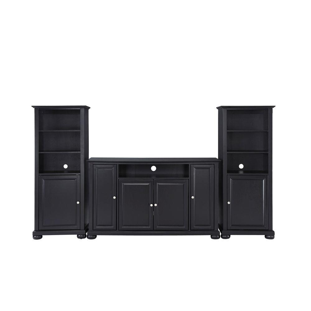 Crosley Alexandria TV Stand and 2-Audio Piers in Black