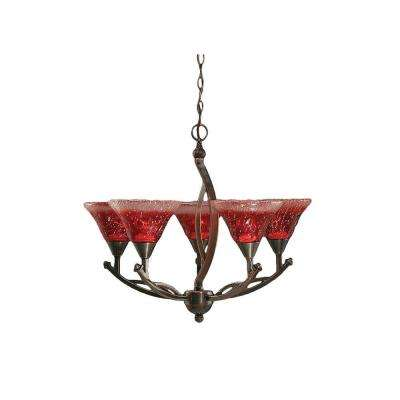 Concord 5-Light Black Copper Chandelier with Raspberry Crystal Glass