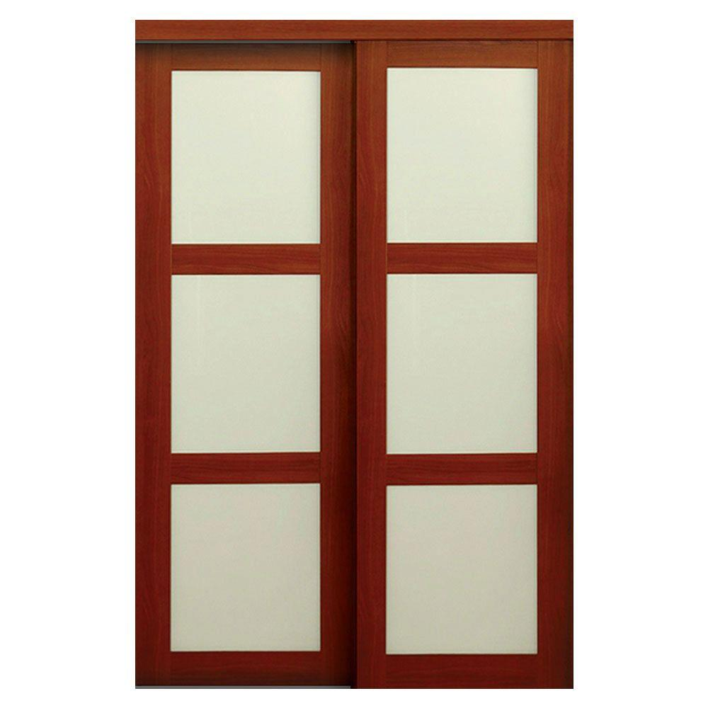 Truporte 60 In X 80 In 2310 Series Cherry 3 Lite Tempered Frosted Glass Composite Interior