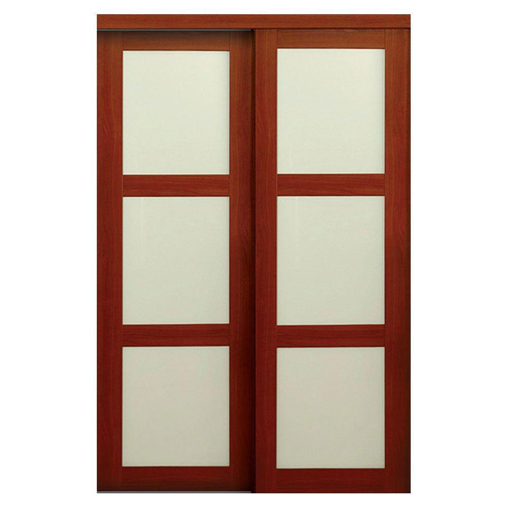 Truporte 60 in x 80 in 2310 series cherry 3 lite for 18 inch interior glass door
