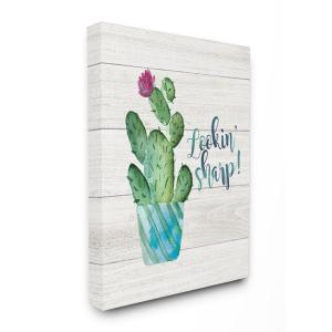 30 in. x 40 in. ''Looking Sharp Cactus Succulent Watercolor'' by Jo Moulton Canvas Wall Art