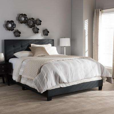 Brookfield Contemporary Dark Gray Fabric Upholstered Queen Size Bed