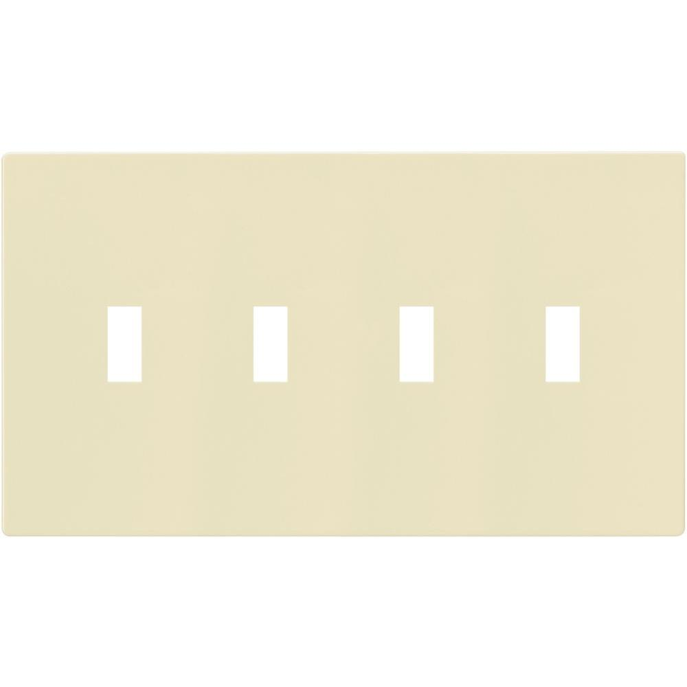 4-Gang Screwless Toggle Switch Mid-Size Wall Plate, Almond