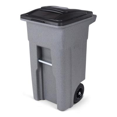 32 Gal. Graystone Trash Can with Quiet Wheels and Attached Lid