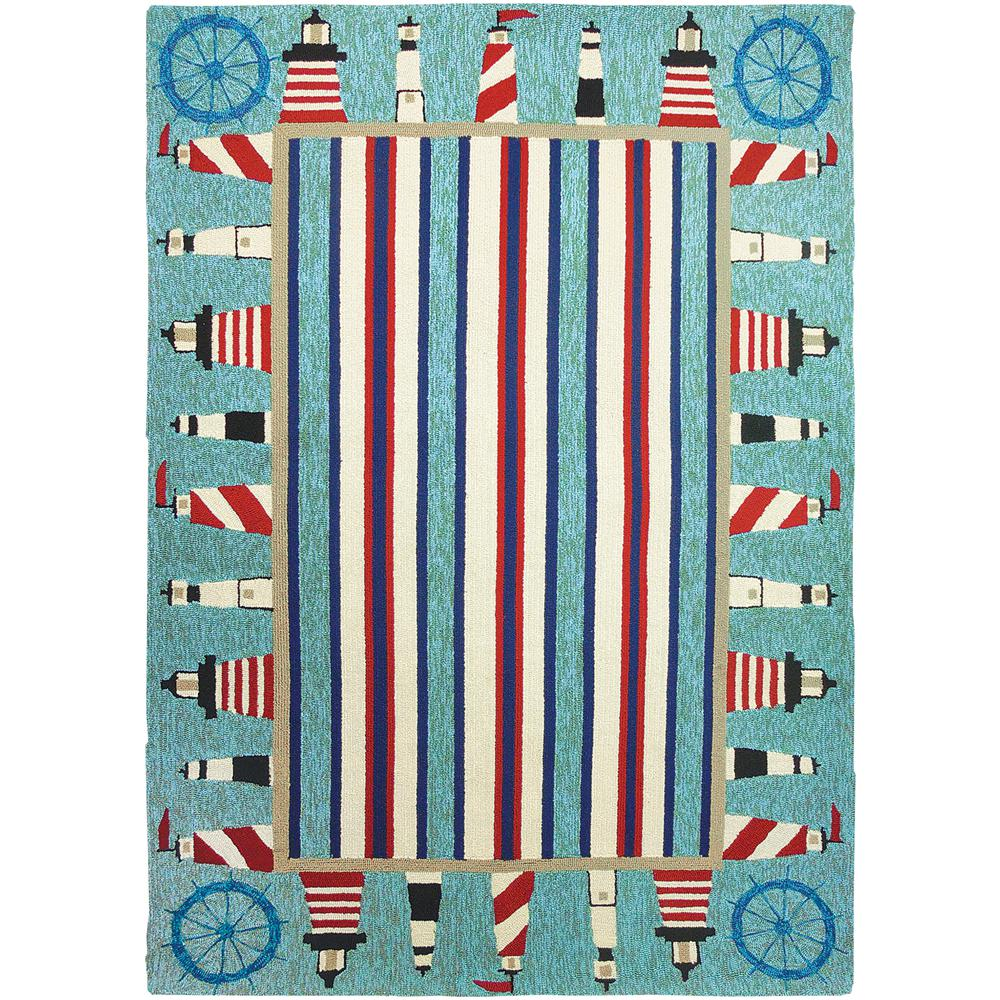 Lighthouse Brigade Blue 5 ft. x 7 ft. Indoor/Outdoor Area Rug