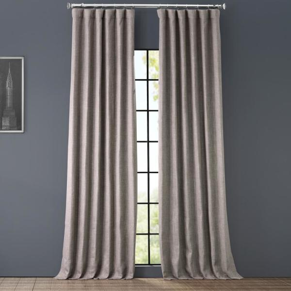 Mink Gray Faux Linen Blackout Curtain - 50 in. W x 96 in. L
