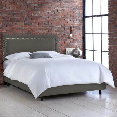 Destiny Linen Charcoal King Border Bed with Silver Nail Buttons