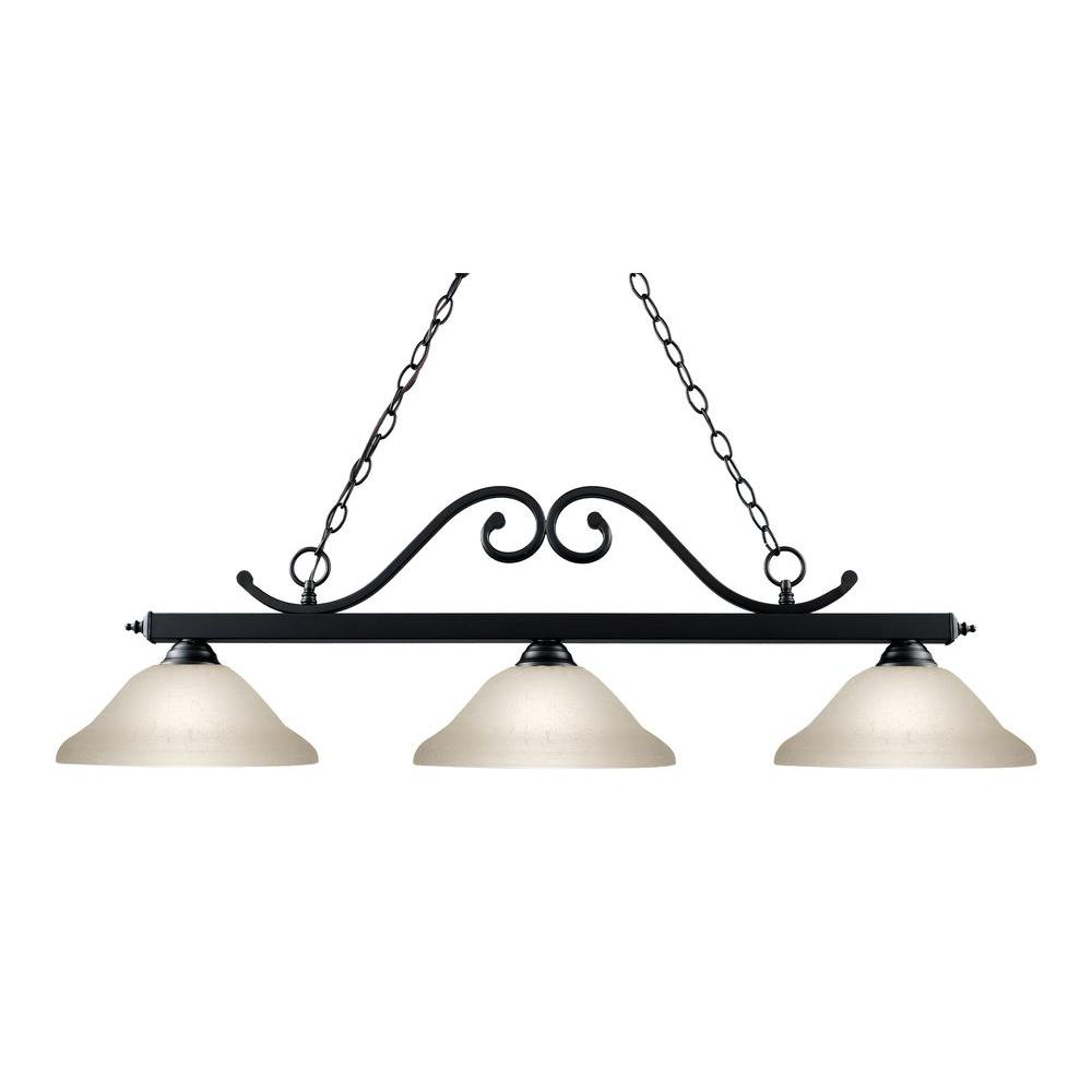 Tulen Lawrence 3-Light Matte Black Incandescent Ceiling Island Light