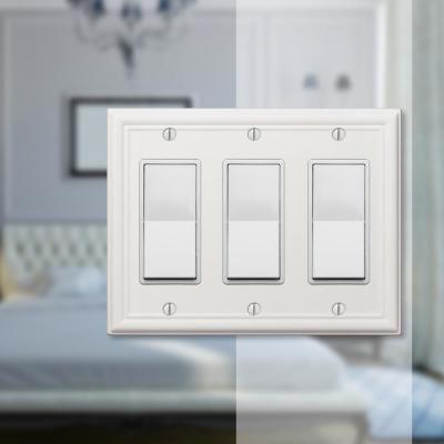Ascher 3 Gang Rocker Steel Wall Plate - White