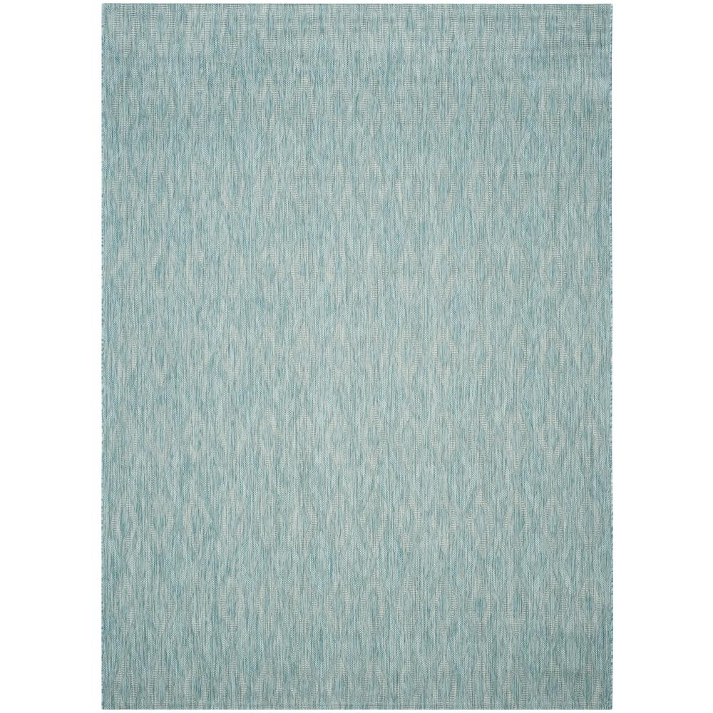 Courtyard Aqua 8 ft. x 11 ft. Indoor/Outdoor Area Rug