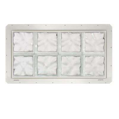 31.75 in. x 16.75 in. x 3.25 in. Wave Pattern Glass Block Window with White Colored Vinyl Nailing Fin