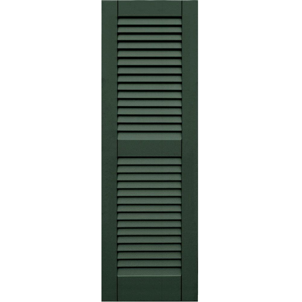 Winworks Wood Composite 15 in. x 47 in. Louvered Shutters Pair #656 Rookwood Dark Green