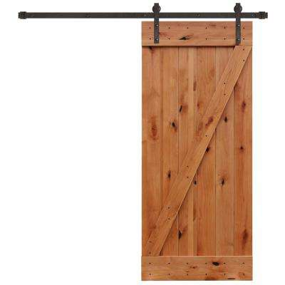 36 in. x 84 in. Rustic Unfinished Plank Knotty Alder Barn Door Kit with Oil Rubbed Bronze Sliding Door Hardware Kit
