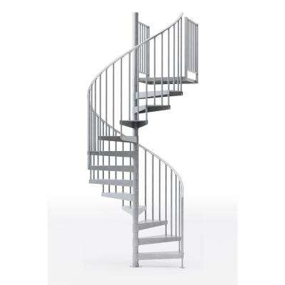 Reroute Galvanized 60 in. (5 ft. 0 in.) Wide 9 Treads with Two 36 in. H Platform Rails Spiral Stair Kit