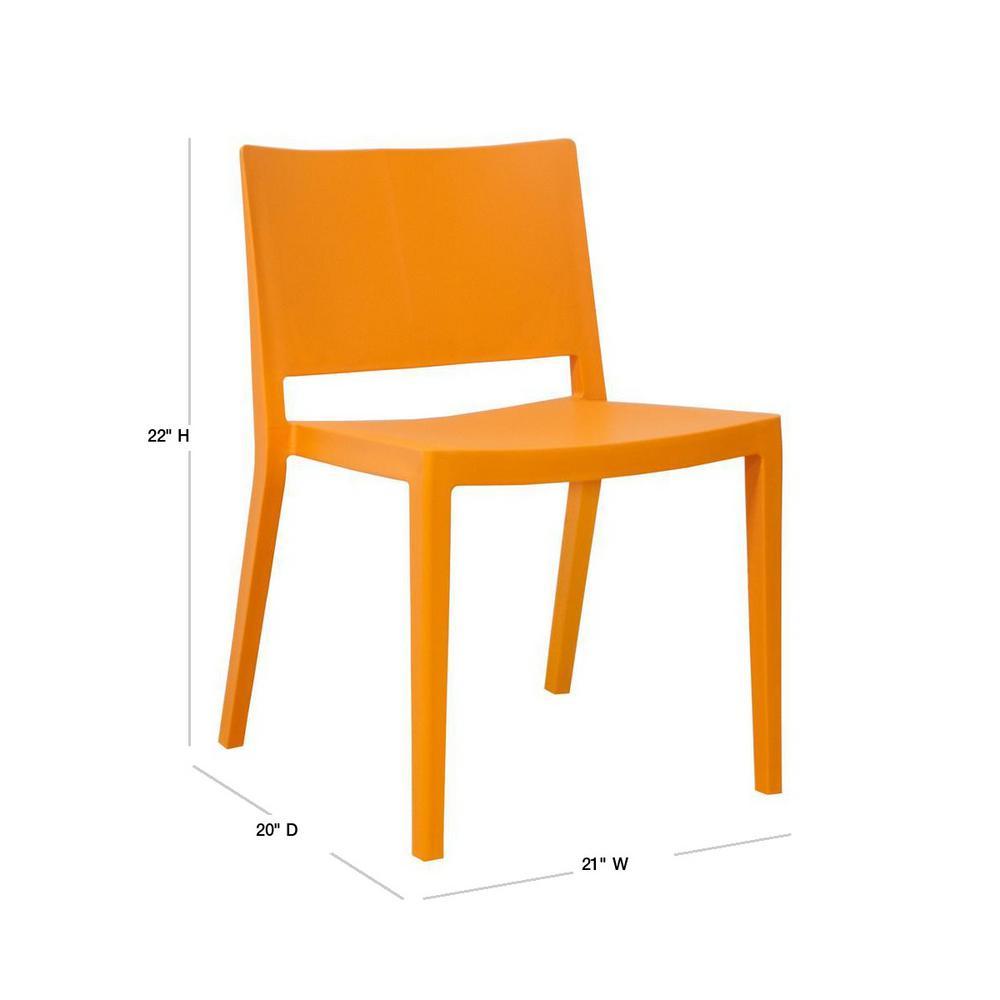 Mod Made Elio Modern Orange Plastic Dining Side Chair Set Of 2 Mm Pc 071 Orange The Home Depot